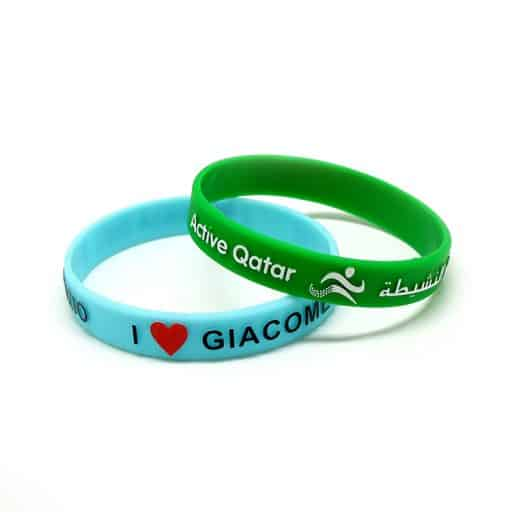 BADGES & WRISTBANDS VPGB0005 – Embossed Color Filled Silicone Wristband